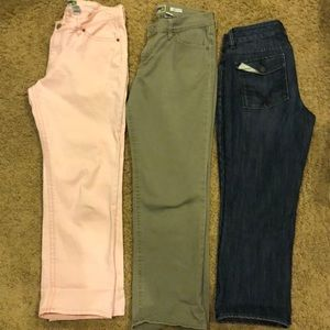 Gap Jeans & Pink and Lt Army green Old Navy capri